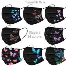 10/50 pces descartável não-tecido 3-camada filtro máscara borboleta impressão homem mulher boca máscara facial adulto respirável preto