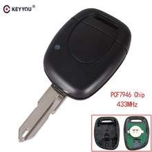 KEYYOU 1 Button Remote Car Key Fob 433Mhz ID46 PCF7946 Chip Fit For RENAULT Clio Master KANGO NE73 blade Free shipping free shipping 1 button remote key case with ne73 blade for reanult 10pc lot