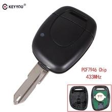 KEYYOU mando a distancia de coche con 1 botón, 433Mhz, Chip ID46 PCF7946, apto para RENAULT Clio Master KANGO NE73 blade, envío gratis
