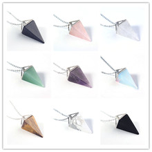 цена на FYJS Unique Silver Plated Square Pyramid Amethysts Stone Pendant Opalite Opal Necklace Link Chain Jewelry