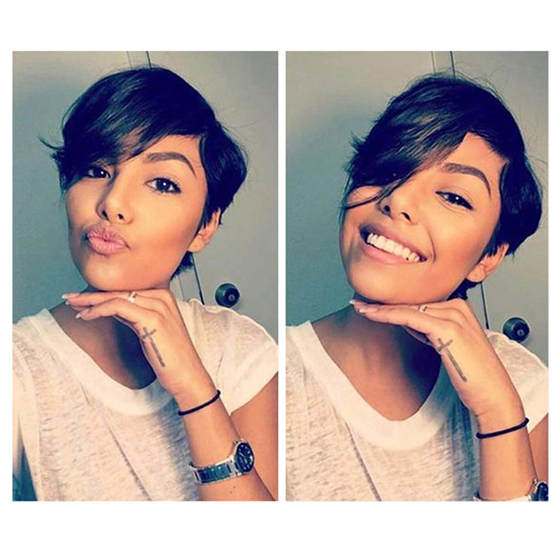 Short Human Hair Wigs Human Hair Wigs Lace Part Wigs For Black Women Non-Remy L Shape Lace Wig Short Wig Dorisy Hair