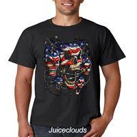Patriotic Skulls T Shirt American Flag Skull Liquid Blue Men's Tee Biker