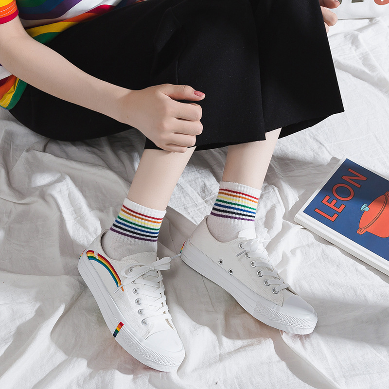 Rainbow Canvas Shoes Women's Fairy Shoes Network Red Tide Shoes Students Korean-style Weep Yafeng Small White Shoes Children