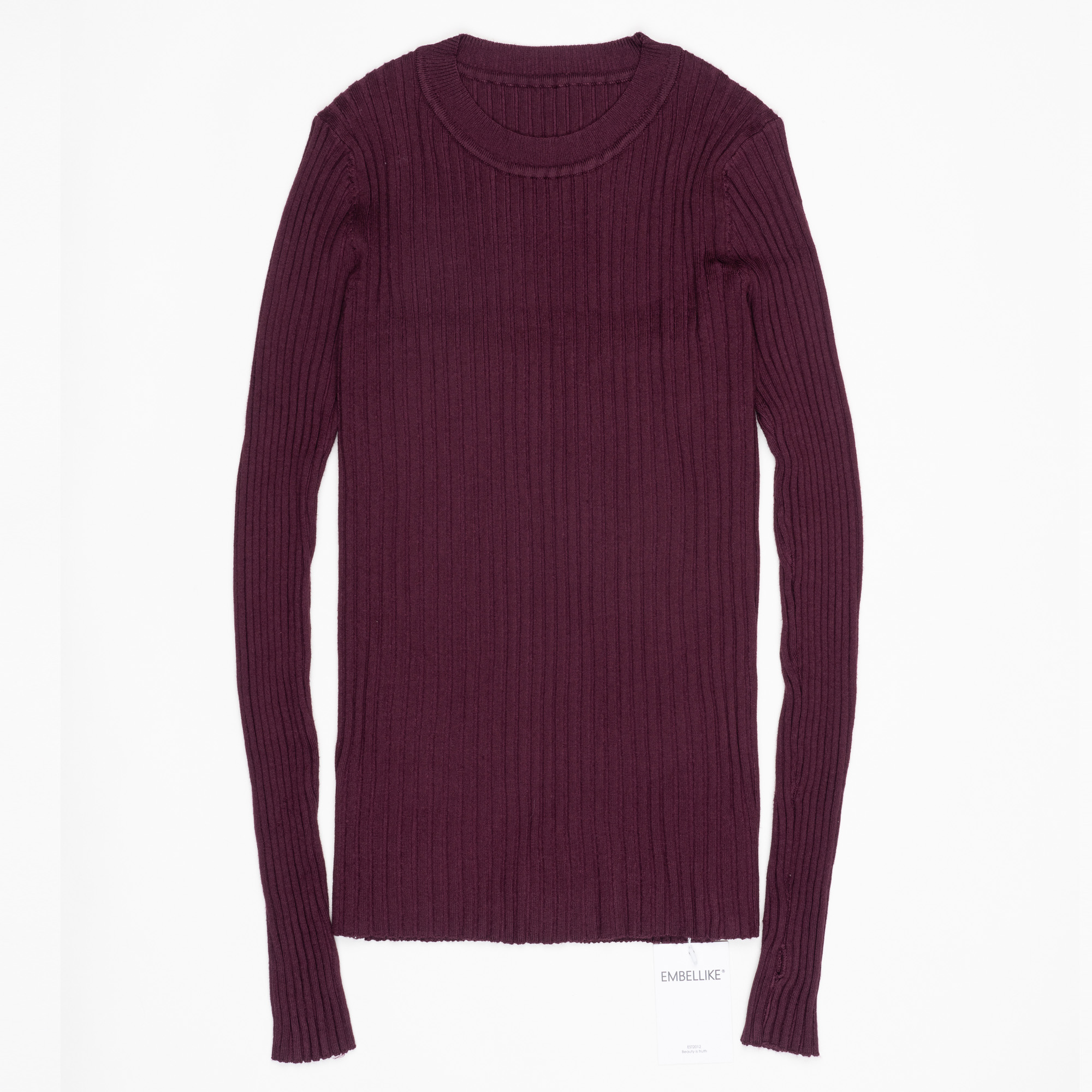Women Sweater Pullover Basic Ribbed Sweaters Cotton Tops Knitted Solid Crew Neck With Thumb Hole 7