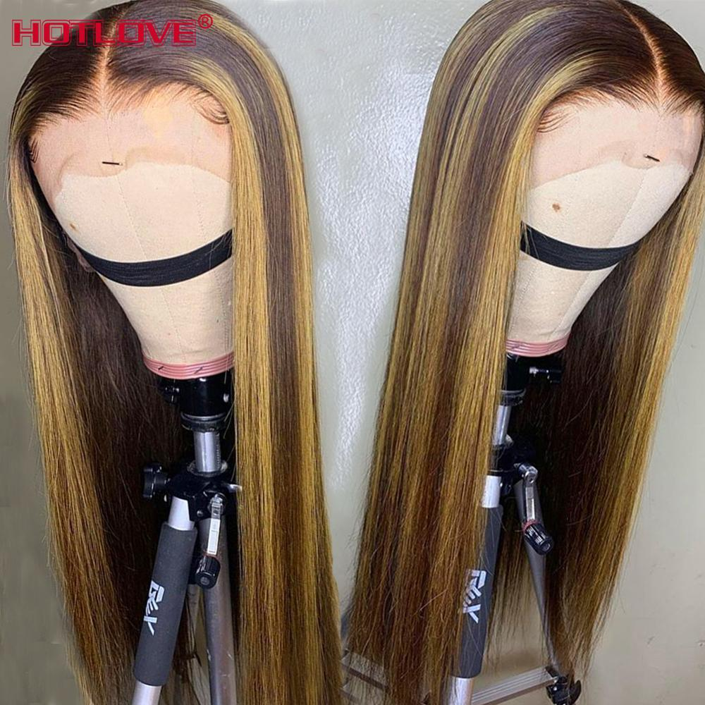 Straight Hair Lace Front Human Hair Wigs For Black Woman Brazilian Highlight Ombre Color Hair 13x4 Lace Front Wig Baby Hair Remy