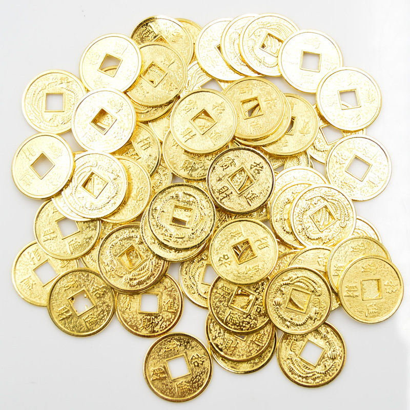 Золотая Китайская древняя фэн-шуй, удачная монета 14 мм 20 мм, удача, драконы, античные богатства, деньги для коллекции, подарок