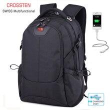 """Crossten İsviçre çok fonksiyonlu harici USB şarj portu Laptop çantası su geçirmez 16 """"Laptop sırt çantası okul çantası seyahat çantası sırt çantası"""