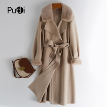 Pudi cappotto in vera pelliccia di visone da donna Jcaket 2020 New Hot Female Long Belt miscele di lana cappotti di pelliccia Trench Z20119