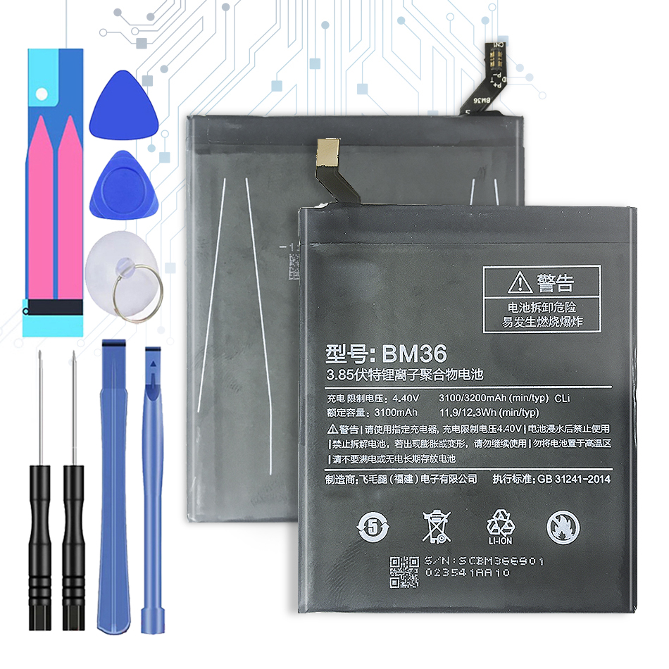 BM36 Replacement <font><b>Battery</b></font> For Xiaomi Xiao <font><b>Mi</b></font> <font><b>5S</b></font> MI5S <font><b>Battery</b></font> BM 36 BM-36 3200mAh with Track Code image