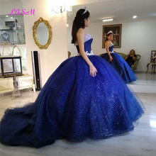 Ball-Gown Quinceanera-Dress Puffy Royal-Blue Glitter Sequins Lace Appliques Girls Sweet 16