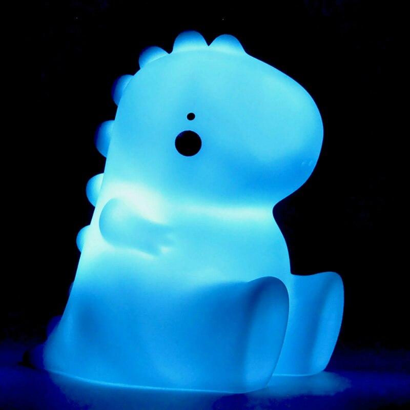 Cartoon Cute Dinosaur Animal LED Soft Small Table Lamp Silicone Night Light Baby Bedside Nursery Kids Toys Creative Holiday Gift