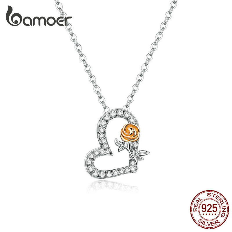 bamoer Silver 925 Jewelry Heart and Rose Pendant Chain Neckalce for Women Fine Wedding Engagement Jewelry BSN132