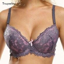 Trufeeling rendas push up bra para mulheres lingerie sexy bordado floral underwired bralette plus size sutiã superior a b c d copo