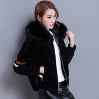 Winter Autumn New Women Wool Coat Fashion Batwing sleeves Mink Fur Collar Hooded Coats Female Sheep shearing Outwear s