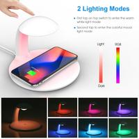 10W QI Wireless Charger Colorful night light Fast Charging Night Lamp Smart Desktop Charger for iPhone X 8 Plus Samsung S9+ S8