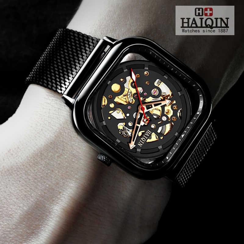 HAIQIN moda spor erkek saatler top marka lüks kare mekanik İzle erkekler bilek İzle Hollow İskelet erkek kol saati 2019