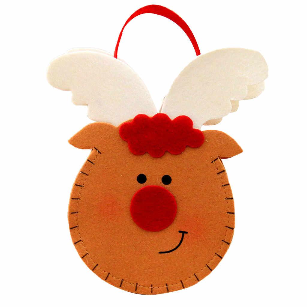 Aelicy de Navidad bolsa de mano roja de dibujos animados viejo caramelo de muñeco de nieve bolsa de mano Nueva Linda Navidad