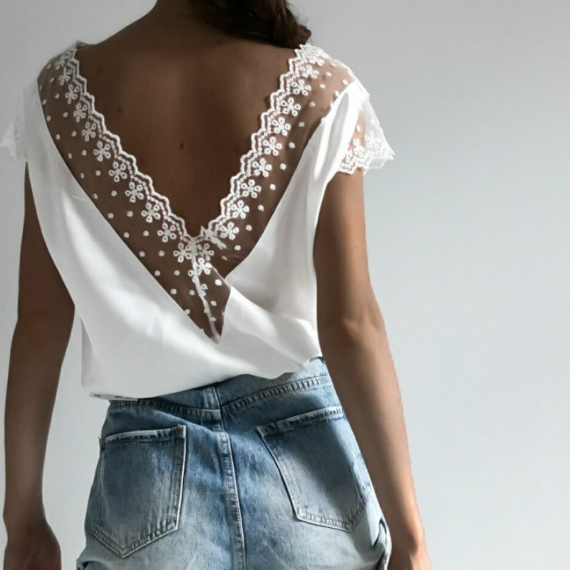 Summer Women Sexy Lace Open Back Shirt Blouse Fashion Short Sleeve Lace Open Back Club Streetwear Clothing Deep V Loose Blusas