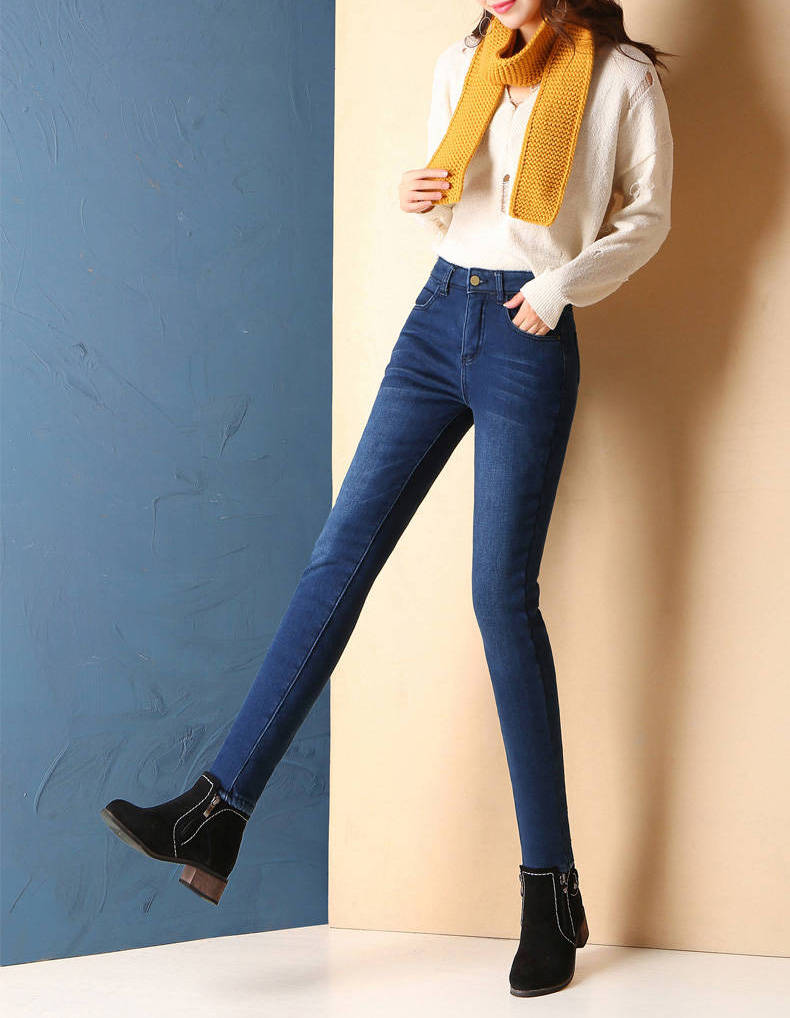Super Warm Plus Size Winter Jeans for Women - Female High Waist Skinny Thick Casual Trousers