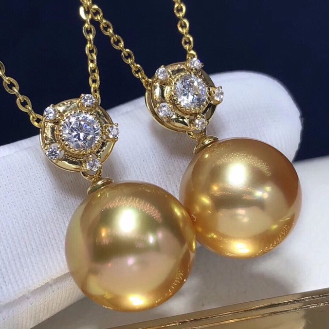 Pearl Pendant 12-13mm Fine Jewelry 18K Gold Natural Ocean Golden Pearl Pendant Necklaces for Women FIne Pearls Pendants 3