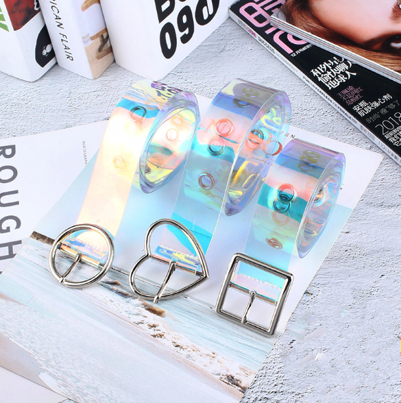 Hot New Women Waist Belt Laser Metal Buckle Casual Decoration Pin Transparent Fashion Lady Girls Waistband