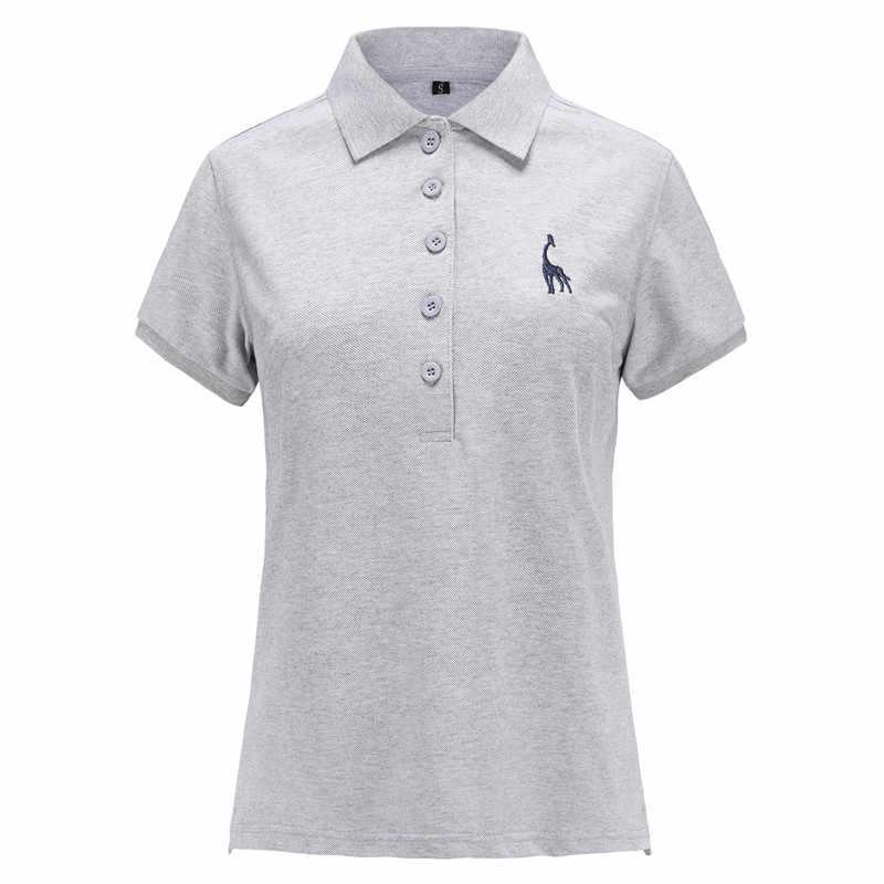 NEGIZBER ブランド品質の女性のポロ固体スリムフィットキリン刺繍ポロシャツ女性ファッションコットンポロ女性