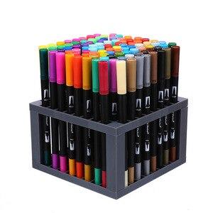 Image 5 - 100 כפולה מברשת עט הרגיש טיפ ספר קליגרפיה עט ציור מנגה אמנות סמן אמנותי כפולה טיפ בצבעי מים מברשת עט