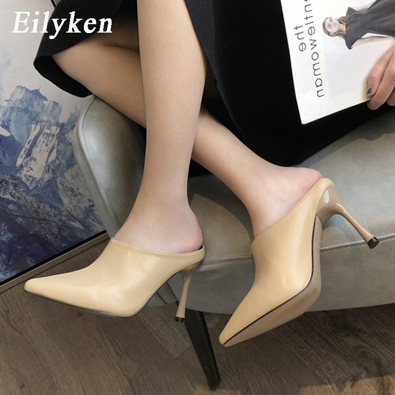 Eilyken 2020 Spring Pumps Women Cozy PU Leather Pointed Toe Mules Slippers Fashion High Heels Ladies Slides Elegant Dress Shoes