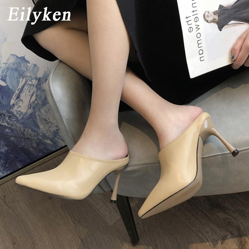 Eilyken 2020 Spring Pumps Women Cozy PU Leather Pointed Toe Mules Slippers Fashion High Heels Ladies Slides Elegant Dress Shoes