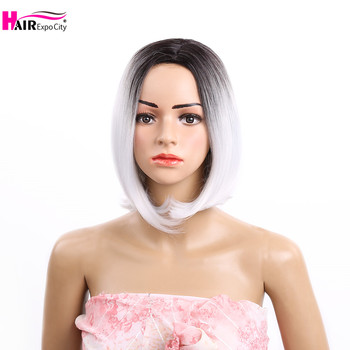 цена на 12 Inch Short Bob Wigs Synthetic Hair Straight Wigs For Women Ombre Grey Color Cosplay Wig Hair Expo City