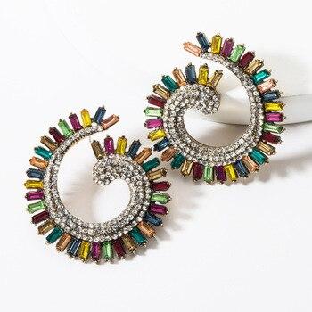 KMVEXO Colorful Crystal Drop Earrings Women Round Geometric Pendant Dangle Earrings Indian Bridal Statement Jewelry Party Bijoux 17