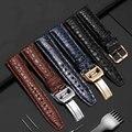 20 мм 21 мм 22 мм качественный ремешок из кожи аллигатора Черный Синий Коричневый мужской браслет подходит для IWC