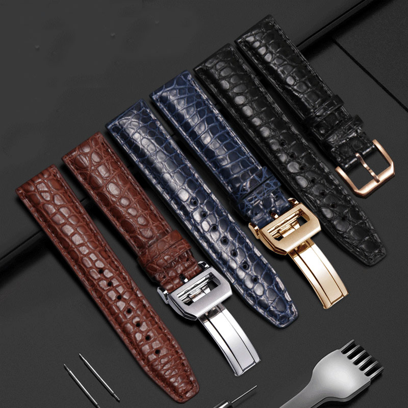 20mm 21mm 22mm Quality Alligator leather watch strap black blue brown male's wristband suitable for IWC