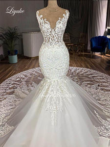 Liyuke Wedding-Dress Mermaid Skirt Tulle Lace Royal-Train of with Gorgeous Bride Skin-Nude