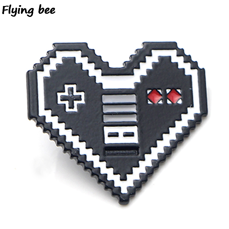 Flyingbee Heart Pin Game Machine Funny Brooch And Pin Clothes Enamel Pins Badges Lapel Pin Brooches For Friends Women Men X0443