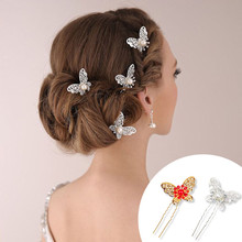 Bridal Jewelry Gold Butterfly Wedding Costume Headdress U-shaped Hairpin Ruby Red Bead Pearl Hair Accessories Hair Sticks(China)