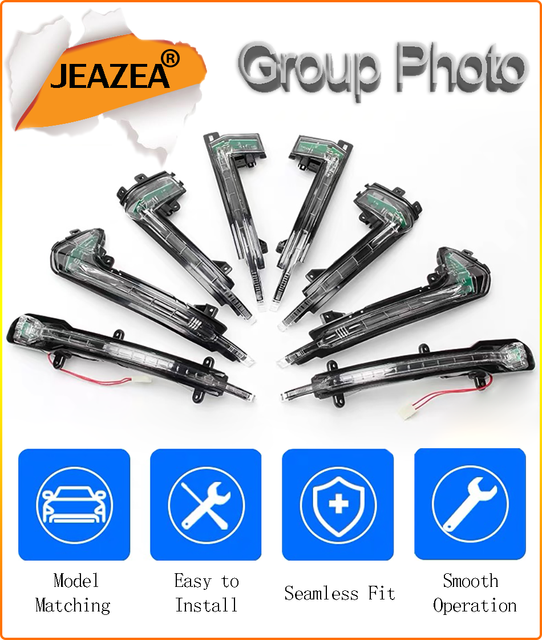 JEAZEA 8K0949101/4GD949101 For Audi A3 A4 Q3 Q5 LED Turn Signal Light Dynamic Scroll Sequential Rearview Side Mirror Lamp