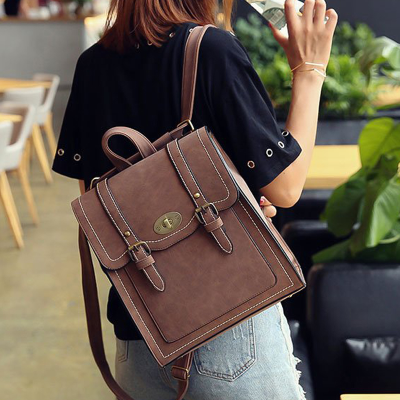 Women Fashion Leather Backpacks Pu Cool Urban Preppy Stle School Bag Backpack For Teenage Girls Vintage Feminina Shoulder Bags
