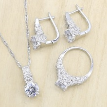 Wedding-Jewelry-Sets Pendant Earrings Necklace Zircon Silver-Color Women for Hoop Birthday-Gift-Box