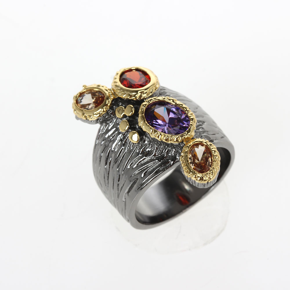 WA11781 DreamCarnival1989 Creative Multi-Colors Cubic-Zirconia-Ring for Women Black-Gold Gothic Rings Amazing Price Hot Pick (8)