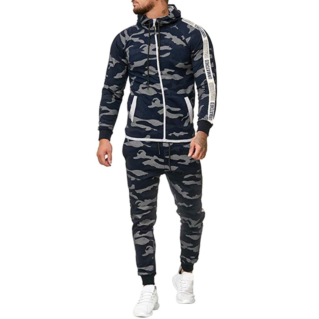Womail 2019 New Fashion Men Hoodies Sweatshirts Stylish Design Sports Suits And Pants Set Camouflage Zipper Mens Tracksuits