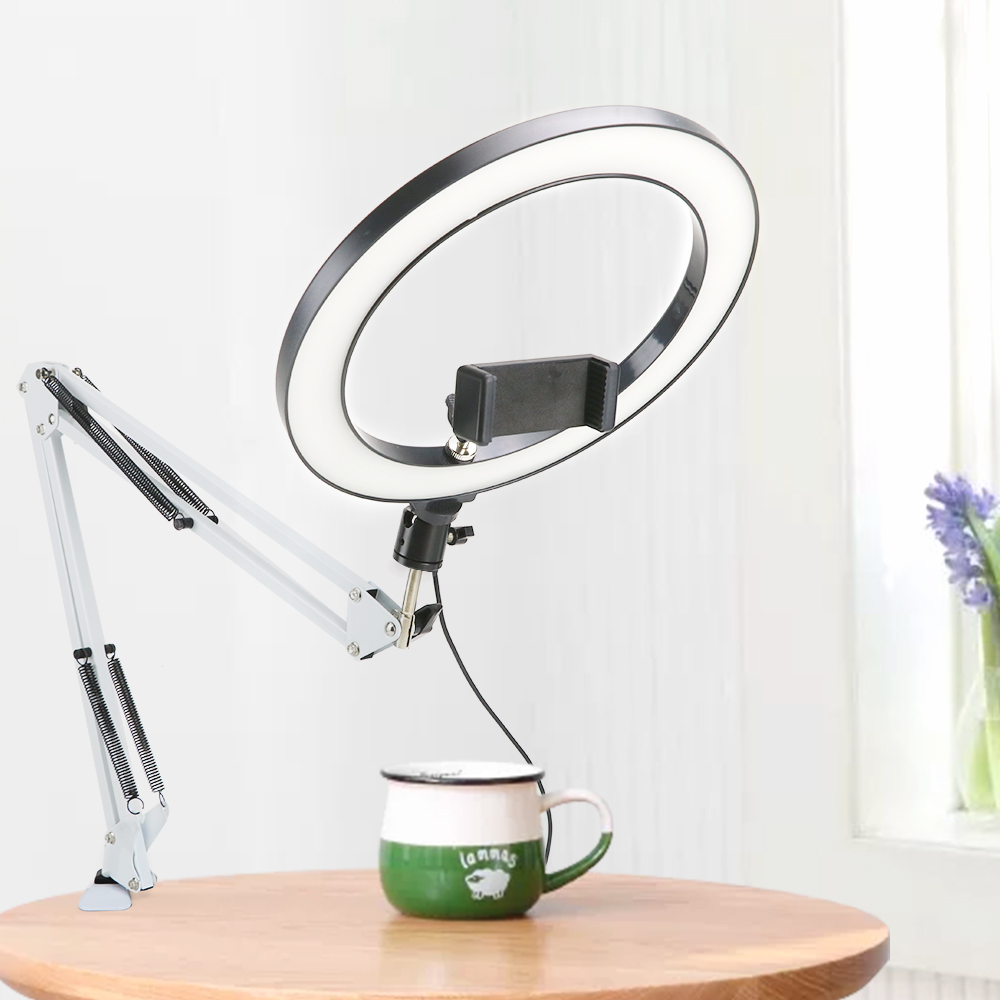 LED Ring Light Selfie Lamp Dimmable With White Long Arm Holder Stand For Video Live Stream Photo Studio Photography Lighting Kit