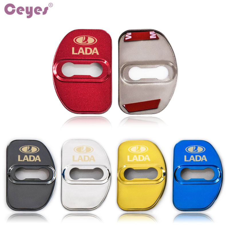Ceyes Covers For Lada Vesta XRAY Granta Kalina Priora Largus Auto Emblems Accessories Car Door Lock Covers Case Stainless Steel