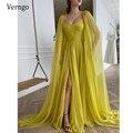 Элегантное темно-желтое шелковое шифоновое платье Verngo для выпускного вечера с длинной накидкой трапециевидного силуэта, плиссированное ве...