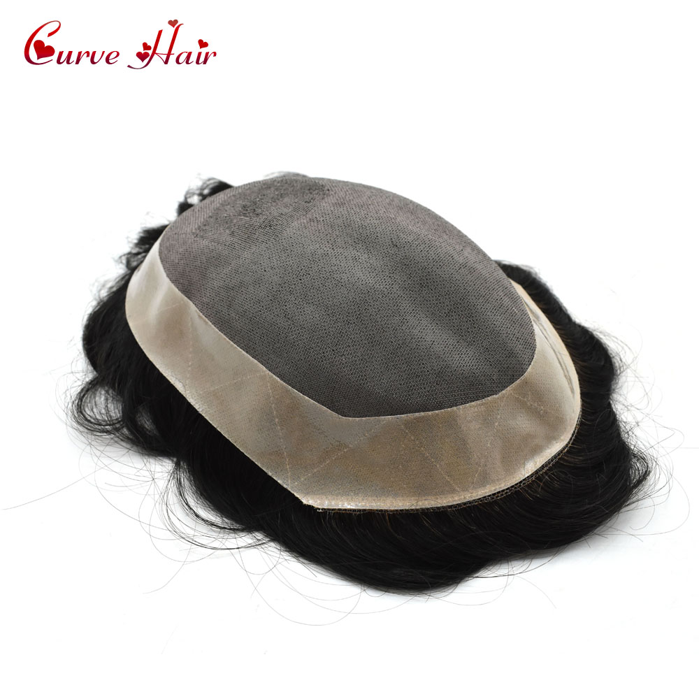 Fine Mono Mens Toupee Poly Coating Around #1B Off BLack Human Hair Replacement Hairpiece Monofilament Wig