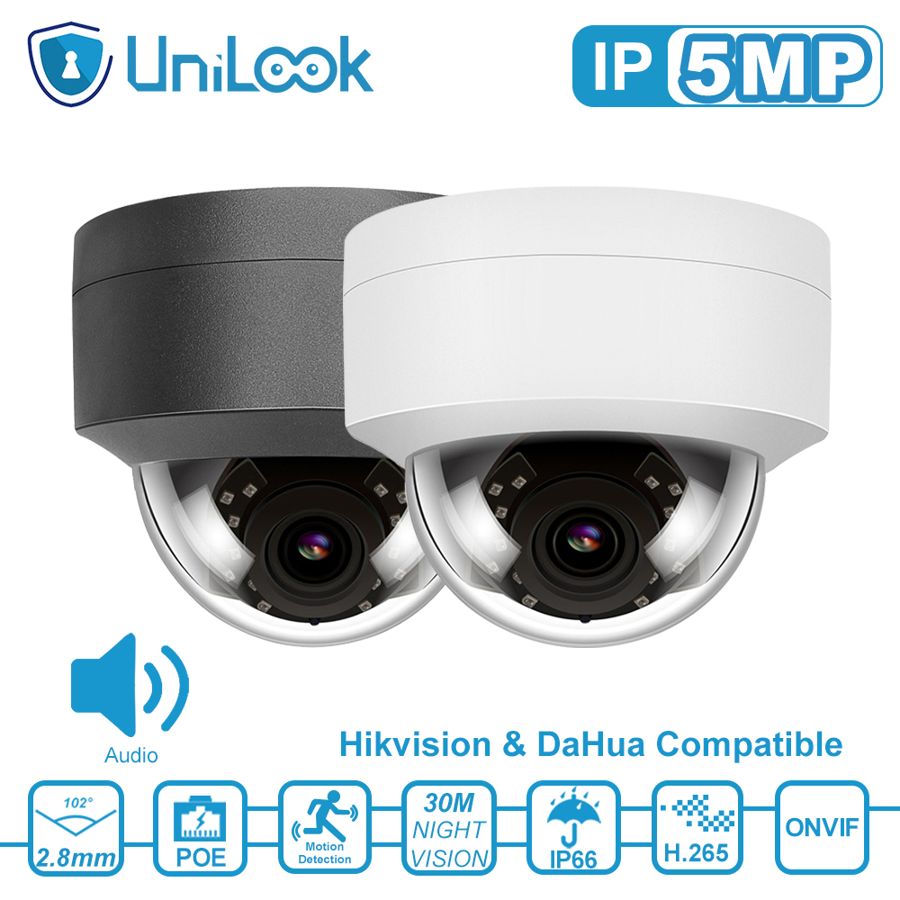UniLook 5MP POE IP Camera Outdoor Security Camera Built in Microphone Night Vision Hikvision Compatible CCTV Camera ONVIF H.265