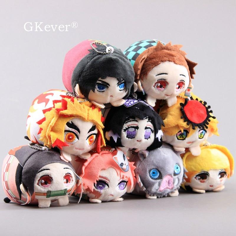 Anime Demon Slayer Plush Toys Kamado Nezuko Small Keychain Kochou Shinobu Hashibira Inosuke Tomioka Giyu Dolls Women Kids Gift