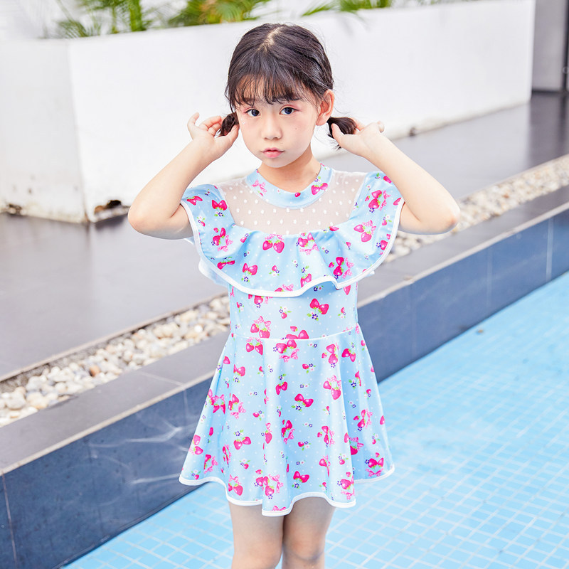 New Style KID'S Swimwear Big Boy Princess Dress-Cute One-piece GIRL'S Swimming Bubble Hot Spring Swimming Suit