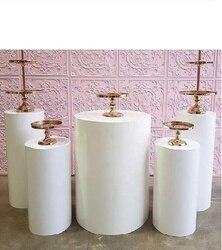 Piliers ronds de plinthes de décor d'art d'affichage de piédestal de cylindre pour des vacances de décorations de mariage de bricolage