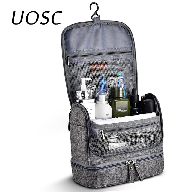 UOSC Waterproof Men Hanging Makeup Bag Oxford Travel Organizer Cosmetic Bag For Women Necessaries Make Up Case Wash Toiletry Bag 1